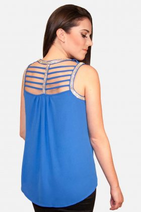 Royal Blue Blouse Tank Top Back View