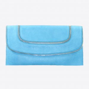 Blue Leather Clutch w Zipper Accents