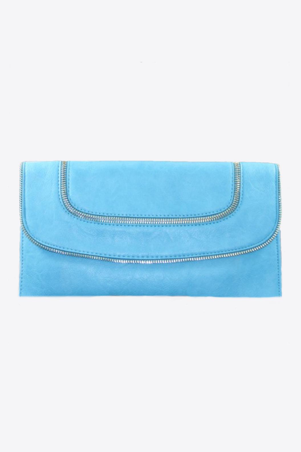 Blue Leather Clutch w Zipper Accents