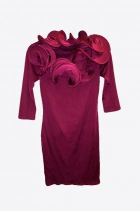 Burgundy Dress Stretchy with Ruffles