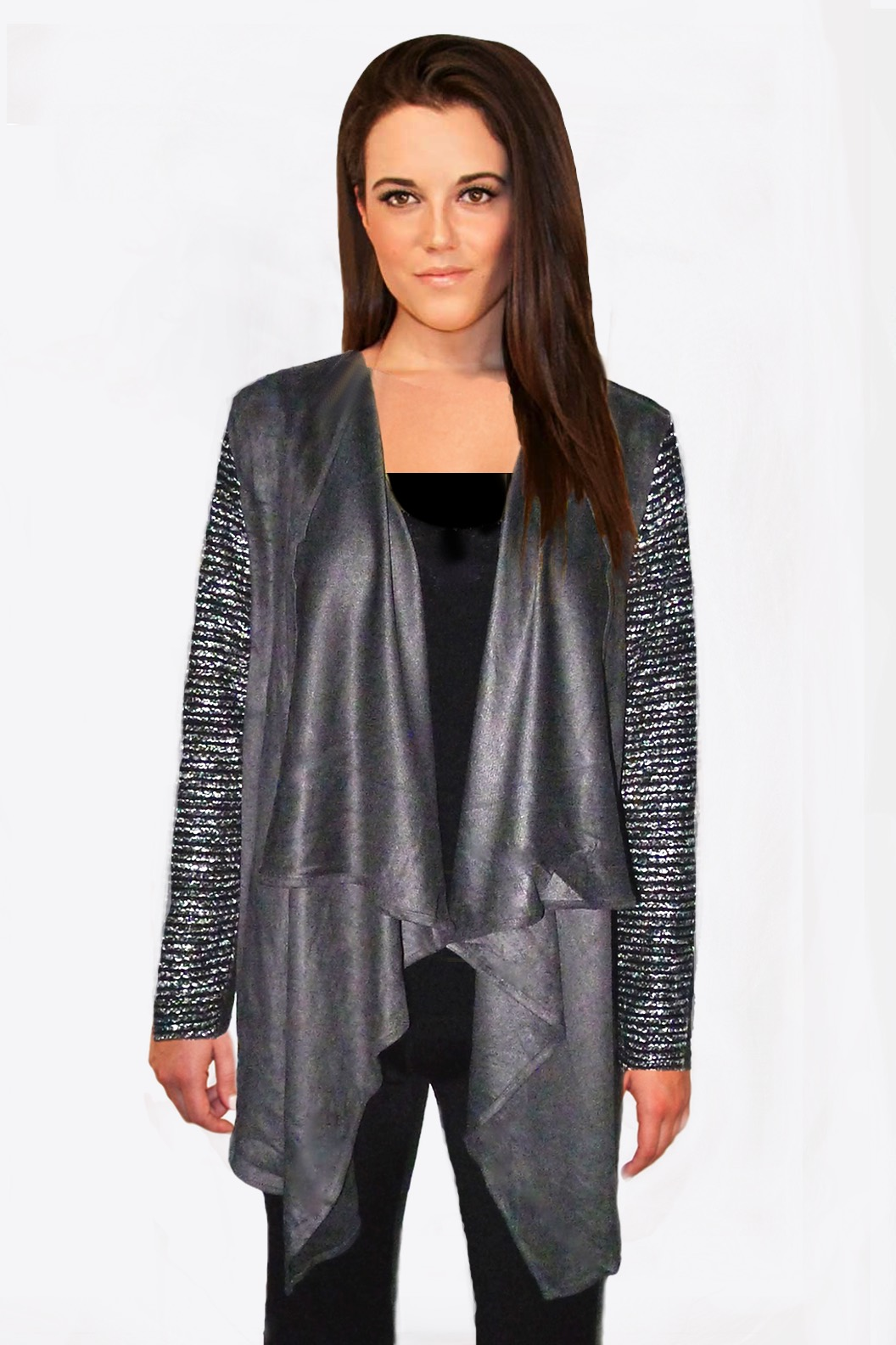 Charcoal Suede Knit Cardigan