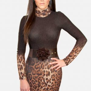 Favori, Brown leopard dress sweater style, Favor in womens clothing