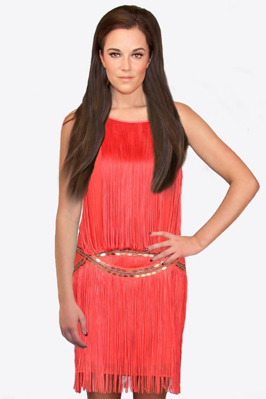 Coral Fringe Dress
