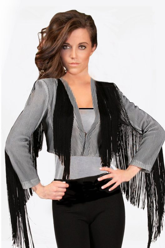 Black and White Checkered Fringe Jacket