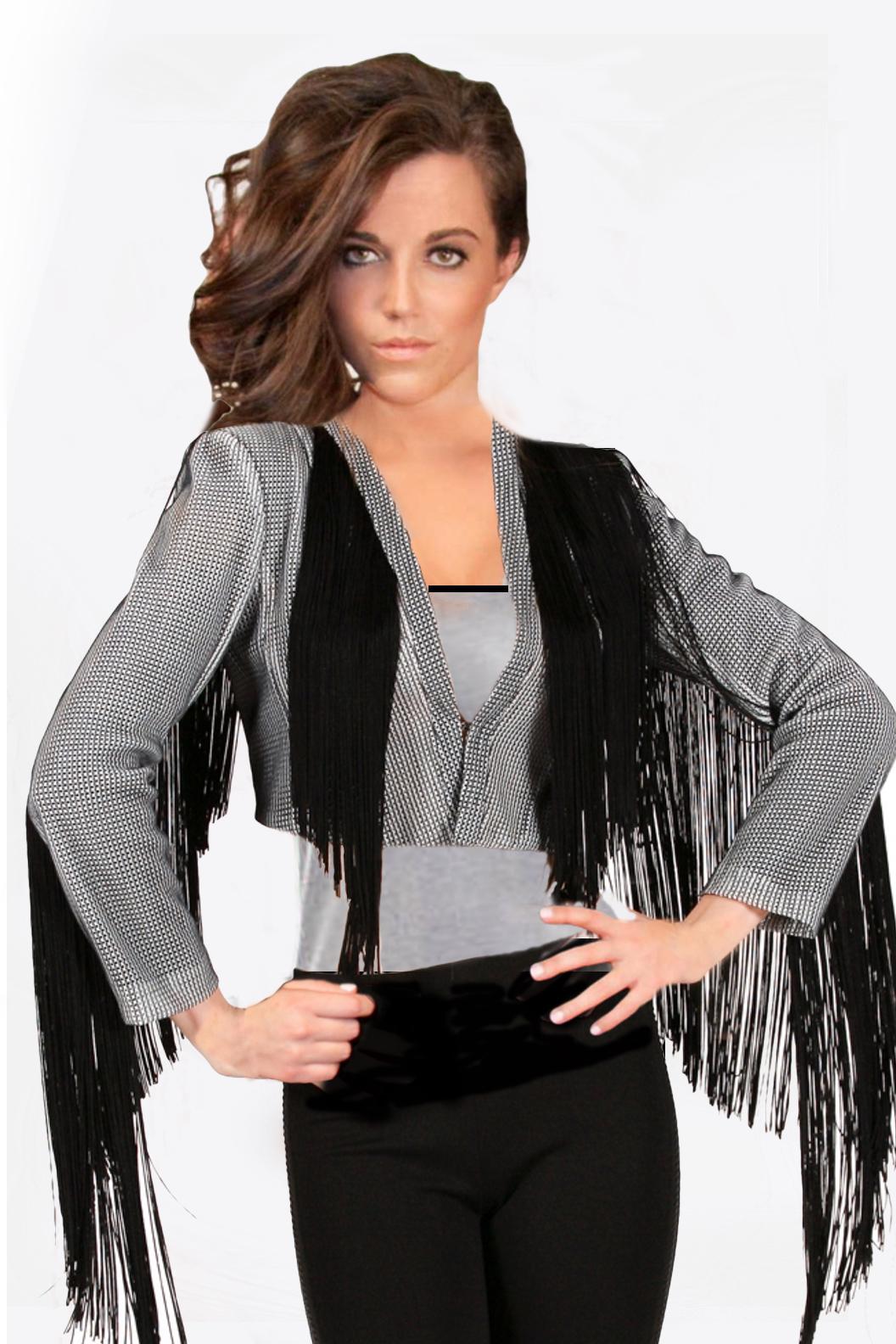 Black and White Checkered Fringe Jacket