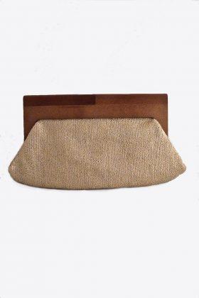 Gold Glitter & Wood Handle Clutch