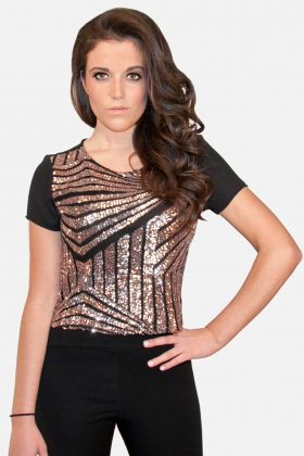 Glitter Crop Top with Bronze Sequins