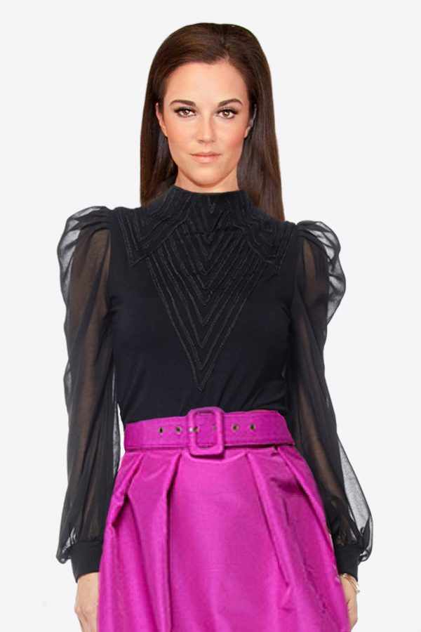 Gracia Black Ruffled Sheer Sleeve Top
