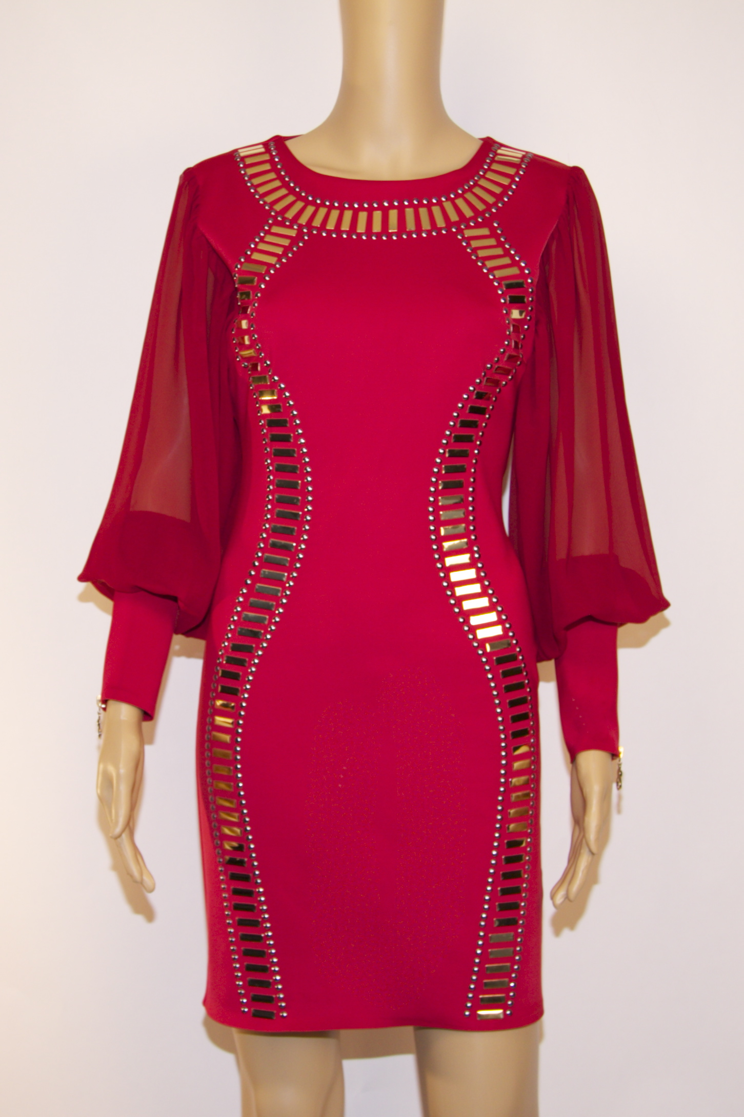 Red bodycon dress with gold studs skystruk for Dress shirt studs uk