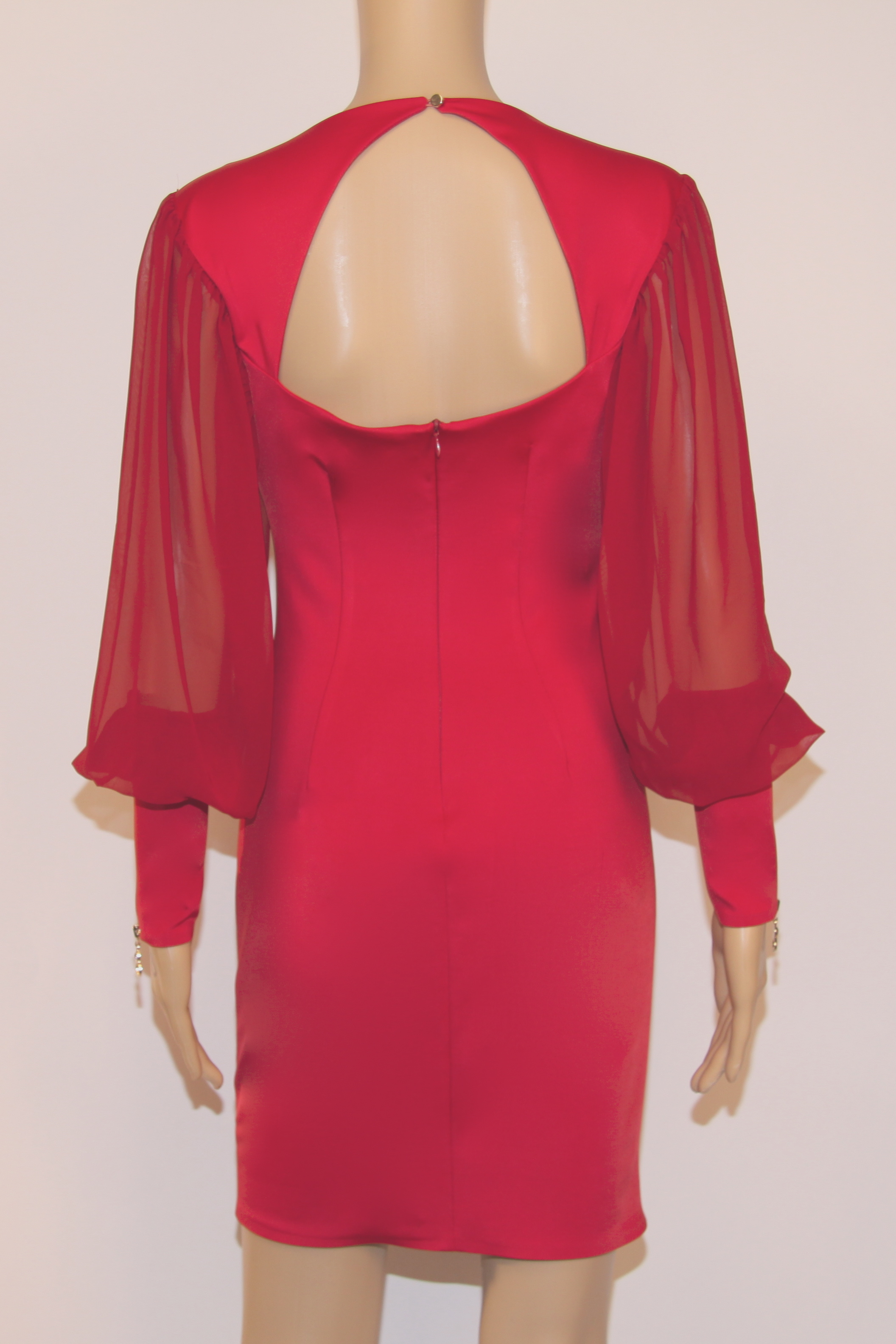 Red Bodycon Dress with Gold Studs | SkyStruk