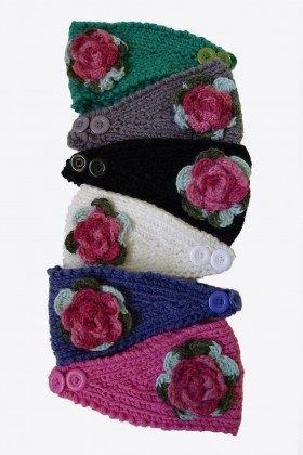 Knit Flower Head Warmer Headband