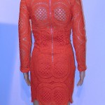 Red Lace Dress Back of Mannequin