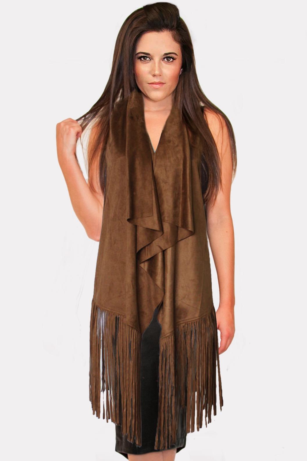 Dark Camel Long Suede Fringe Vest