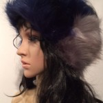Navy and Gray Faux Fur Head Warmer