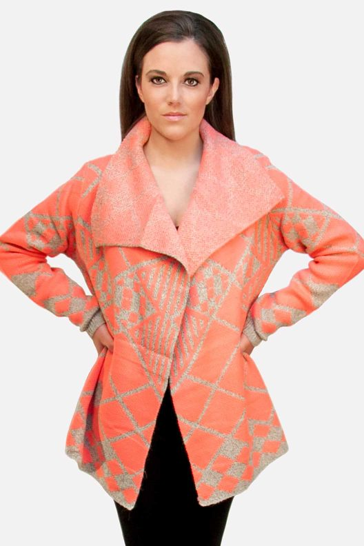 Open Cardigan Sweater Coral/Gray