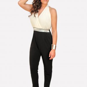 White and Black Jumpsuit w Rhinestones