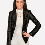 Gracia, Black Quilted Blazer Shiny and Sleek