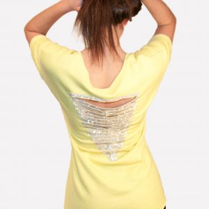 Yellow Sweat Top Open Rhinestone Back