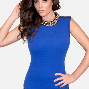Royal Blue Top with Gold Necklace
