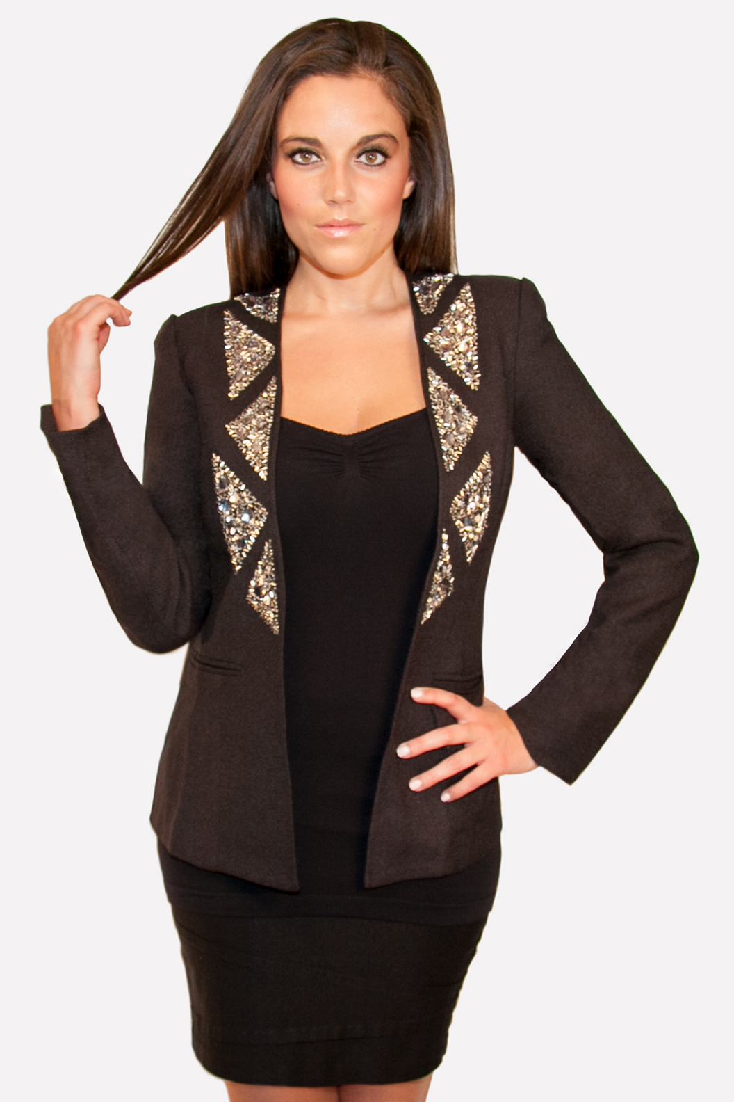 Hommage, Black Blazer with Crystal Collar, Hommage Blazer, Hommage images, Hommage Womens Clothing