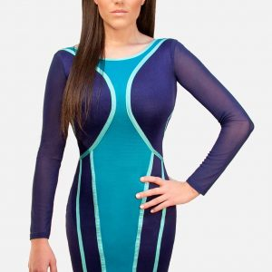 Wow Couture Blue Bodycon Bandage Dress