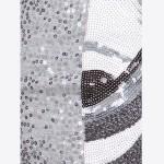 Sequin Mini Skirt White Black & Silver - Sequined Pattern