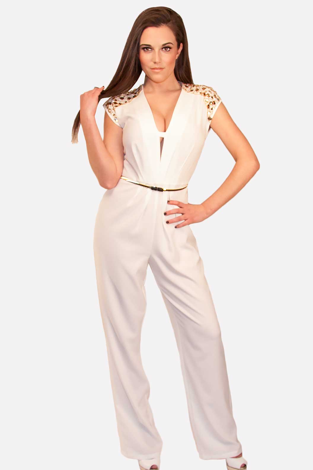 White Jumpsuit with Gold Rhinestones
