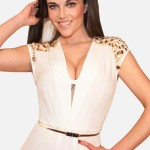 White Jumpsuit with Gold Rhinestone Close up View