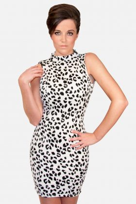 White Leopard Dress with Open Back