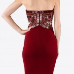 Beaded Burgundy Bodycon Dress by Wow Couture Back View