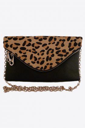 Black clutch, Black bag, Black faux fur bag, Black & animal skin clutch