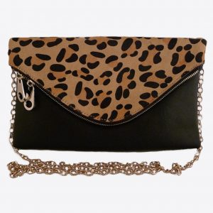 Black clutch, Black bag, Black faux fur bag, Black & animal skin clutch