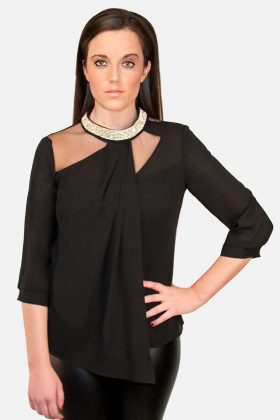 Black Rhinestone Blouse Purely Elegant