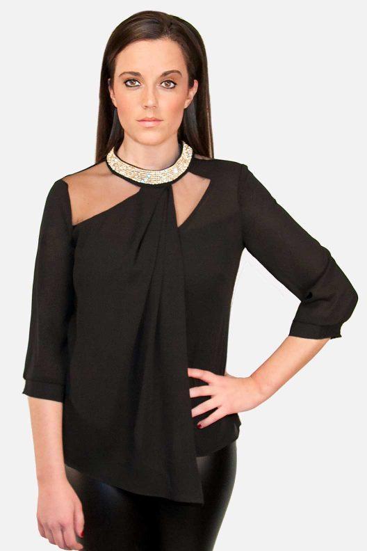 Black Rhinestone Blouse Purely Elegant