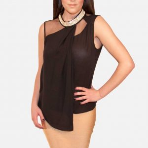Black Rhinestone Sleeveless Blouse