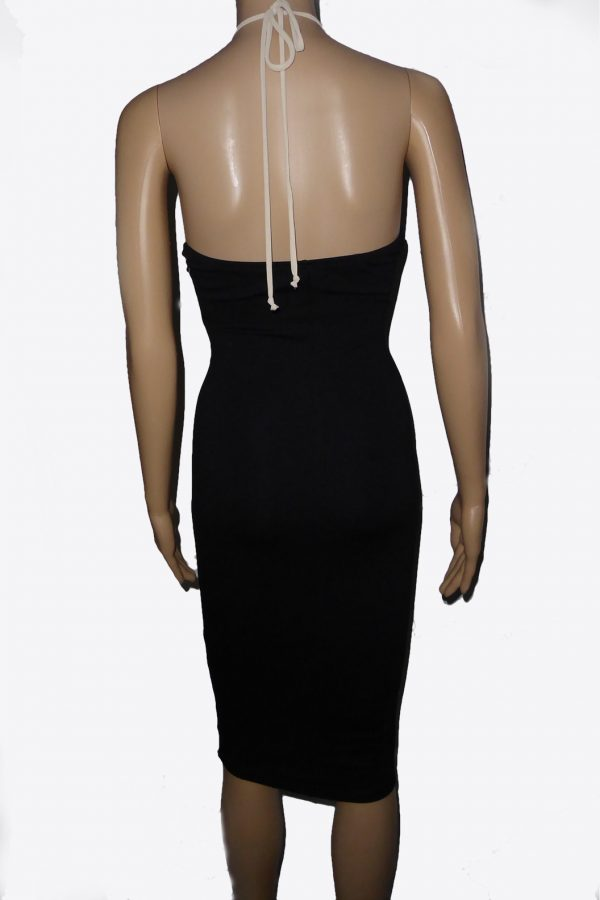 Black Bodycon Dress Sheer Lace Top back view