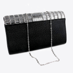 Black clutch, Black evening bag, Black & Silver clutch, black and silver evening bag