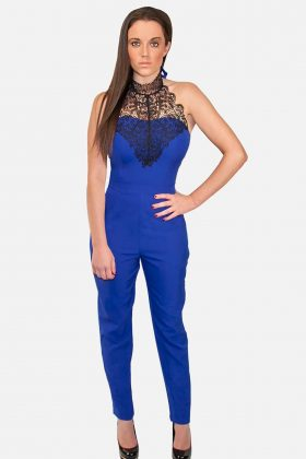 Royal Blue Jumpsuit with Lace