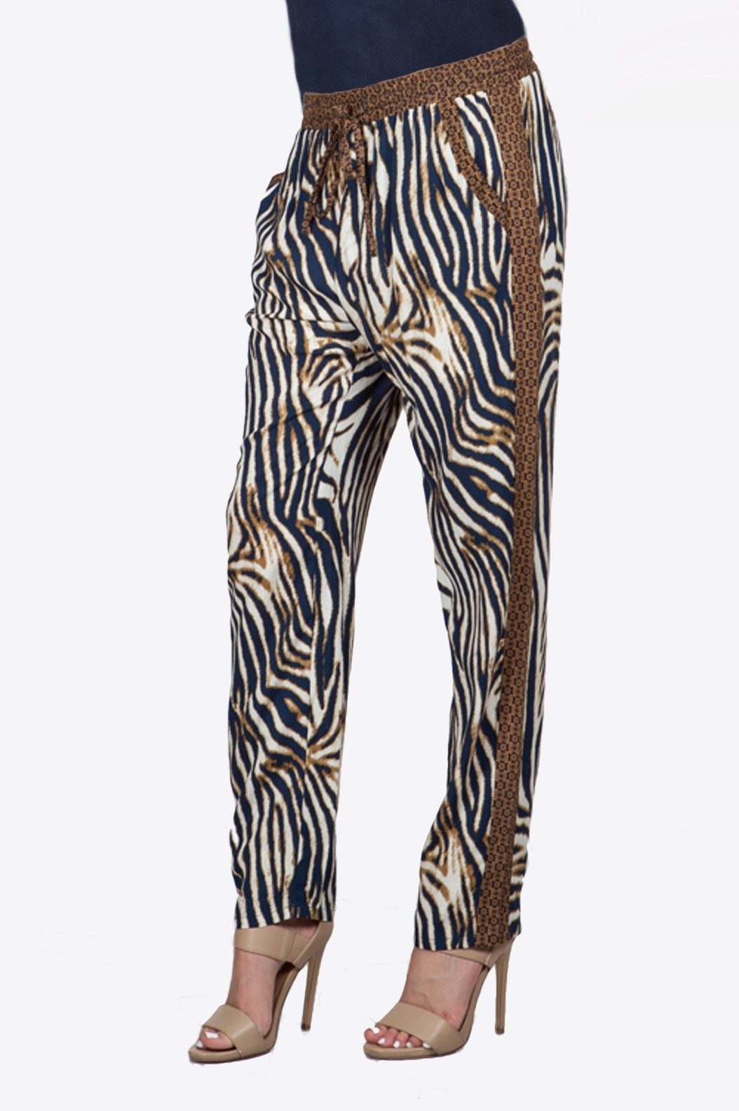Navy and Camel Leopard Pants