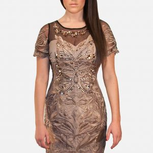 Gracia, Elegant Lace Dress Tan w Rhinestones