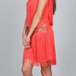 coral fringe dress side view