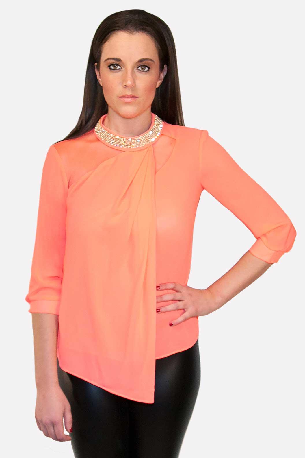 Coral Rhinestone Blouse Purely Elegant