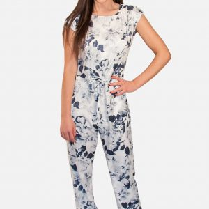Flower Jumpsuit White w Blue Floral