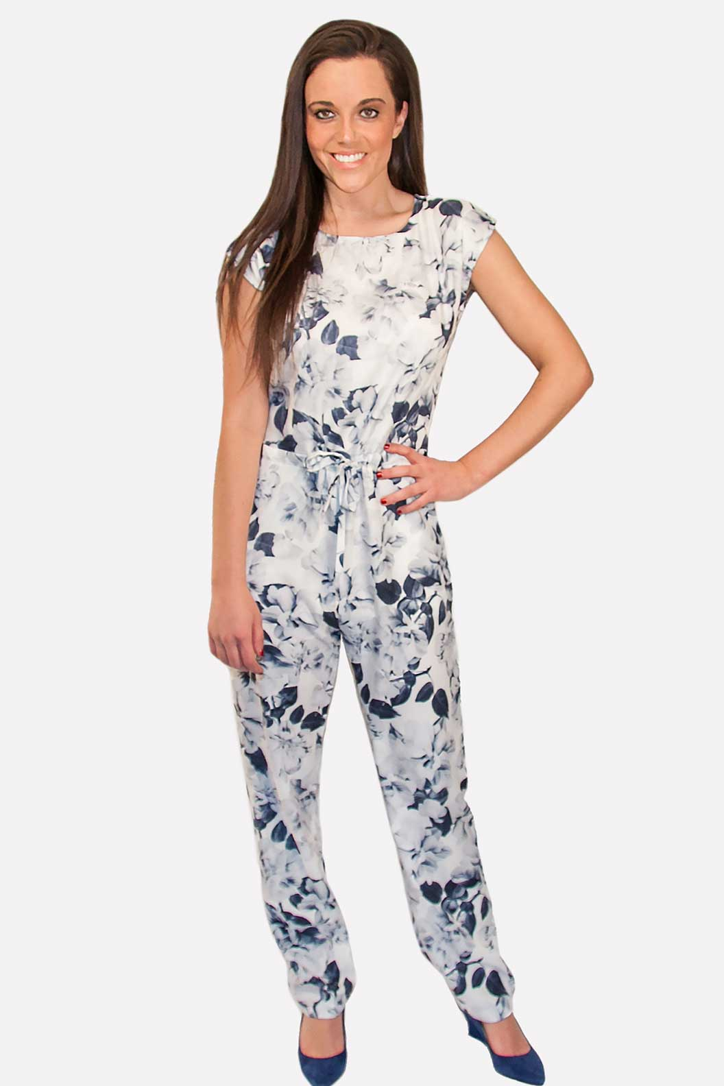 Flower Jumpsuit White w Blue Floral | SkyStruk