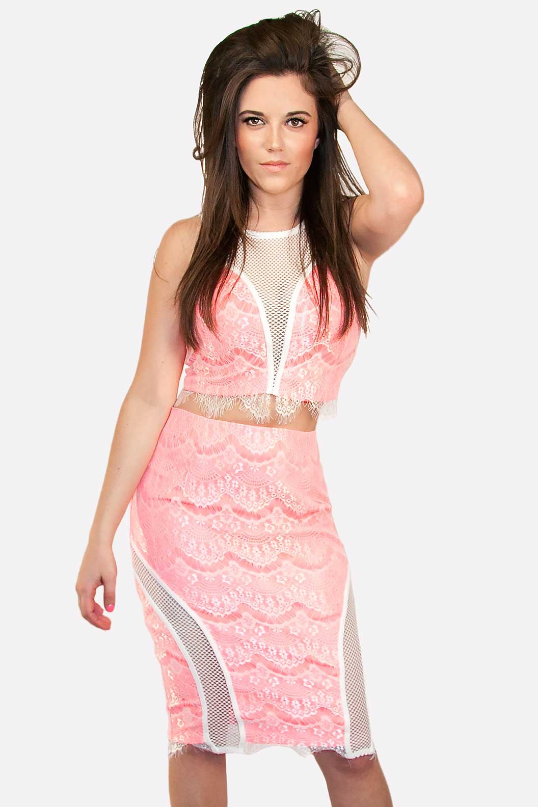 Pink and White Lace Crop Top and Skirt