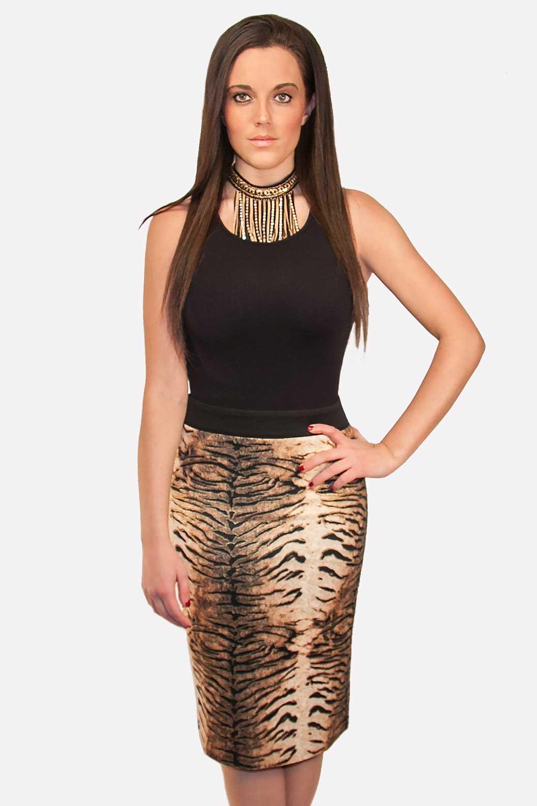 Leopard Pencil Skirt Black & Beige