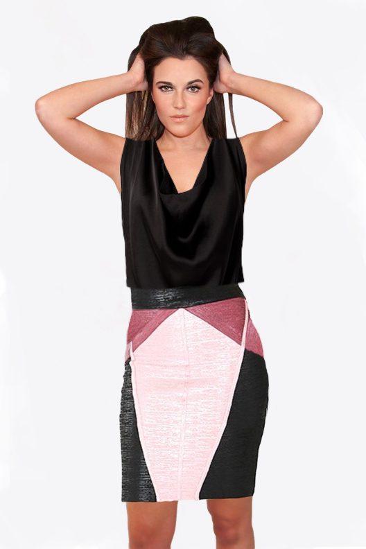 Rose, Wine, Black Foiled Bandage Skirt