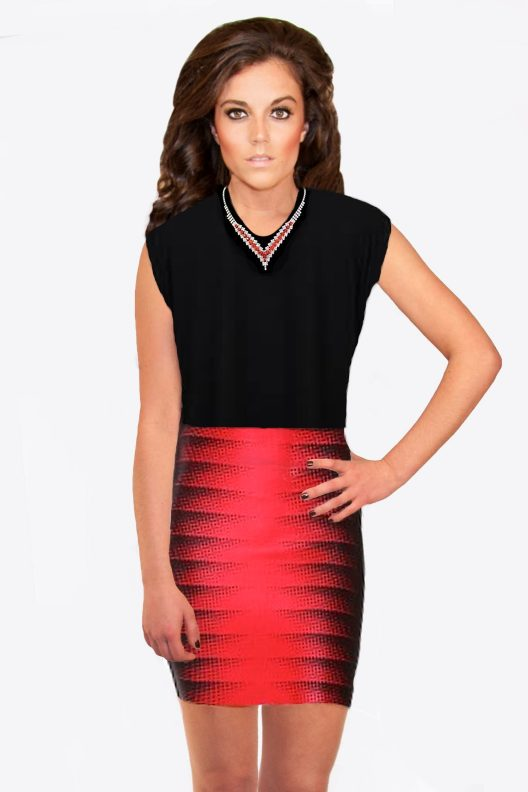 Red and Black Bandage Stretchy Skirt by wow Couture