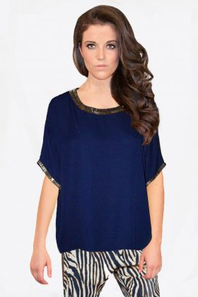 Navy Blue Chiffon Top