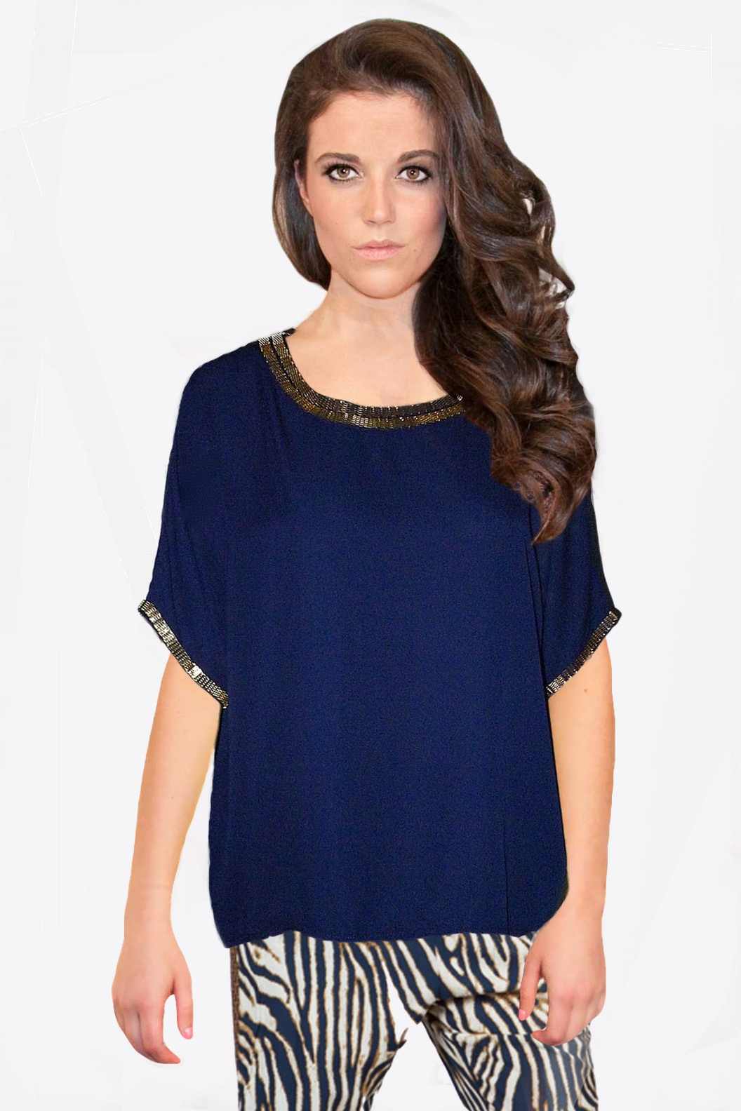 Navy Blue Chiffon Top | SkyStruk